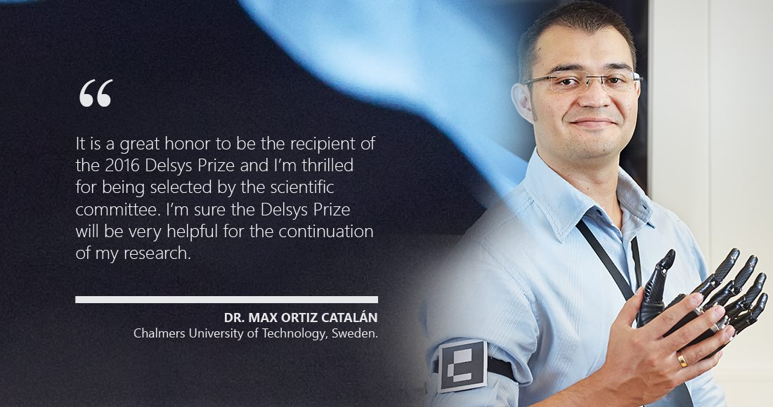 Dr. Max Ortiz Catalan wins the 14th Annual Delsys Prize for innovation in Electromyography