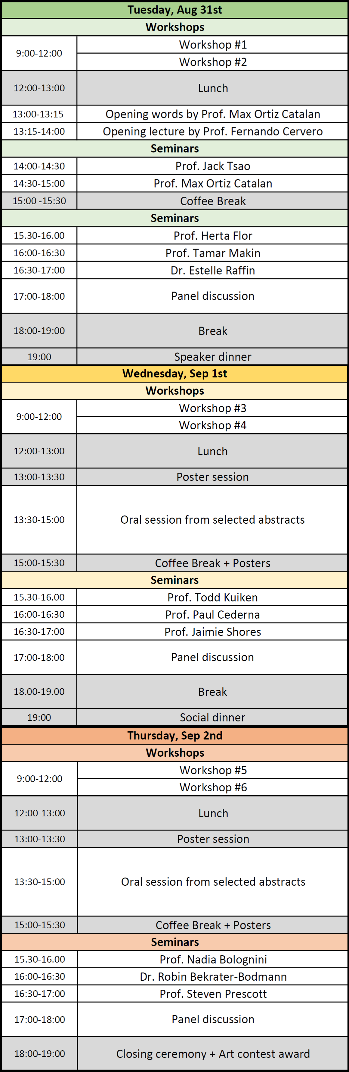 Image of Conference Program. A text summary of the conference program is available below